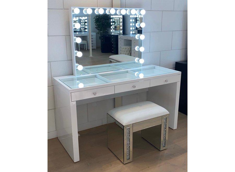 Tabouret velours - blanc - verre - diamond  - XL