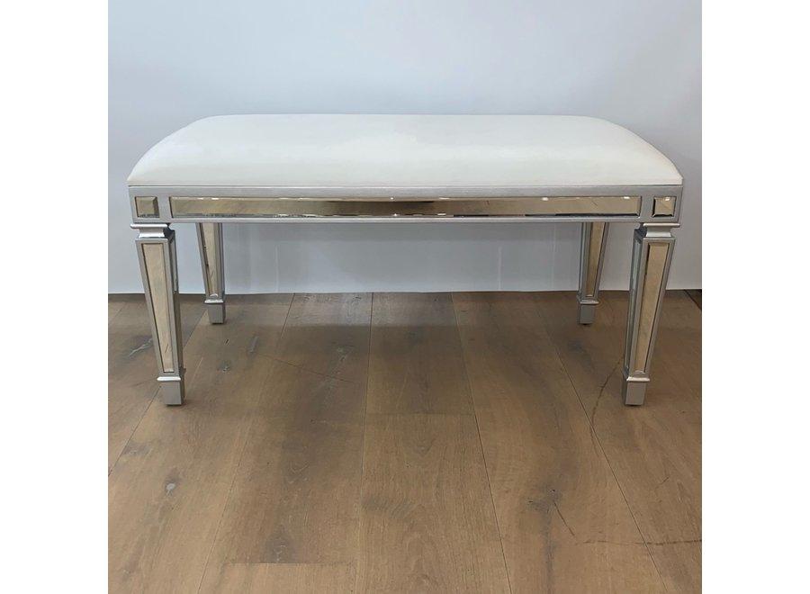 Tabouret velours - blanc - verre - bench