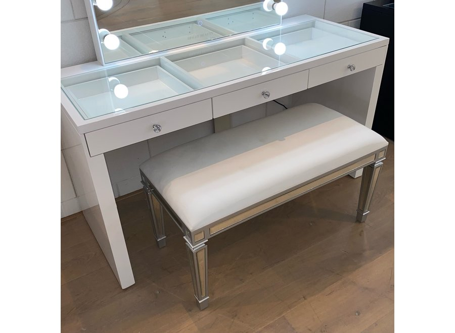 Sgabello velluto - bianco - bicchiere - bench