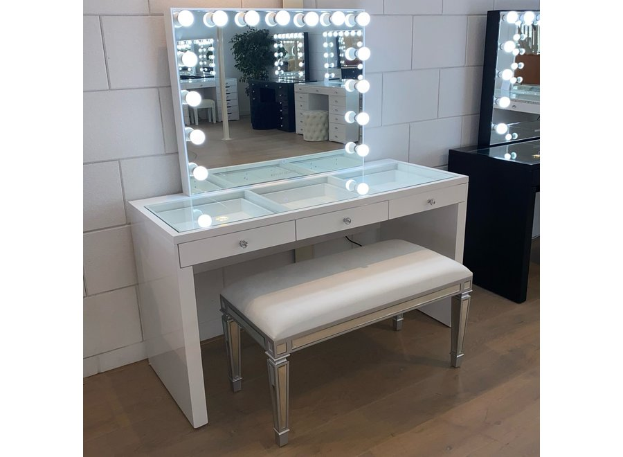 Hocker samt - weiß - glas - bench