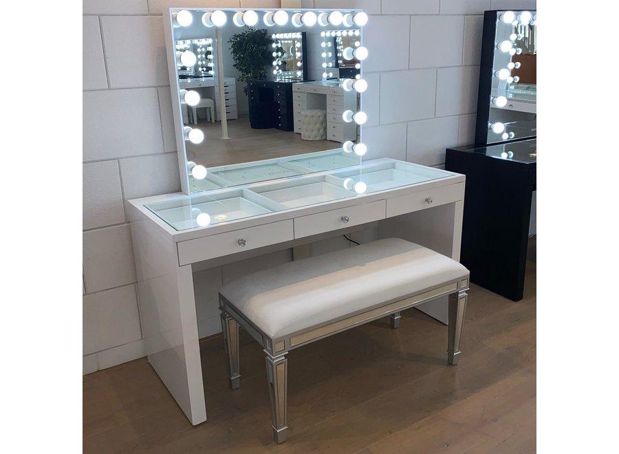 Taburete terciopelo - blanco - vidrio - bench
