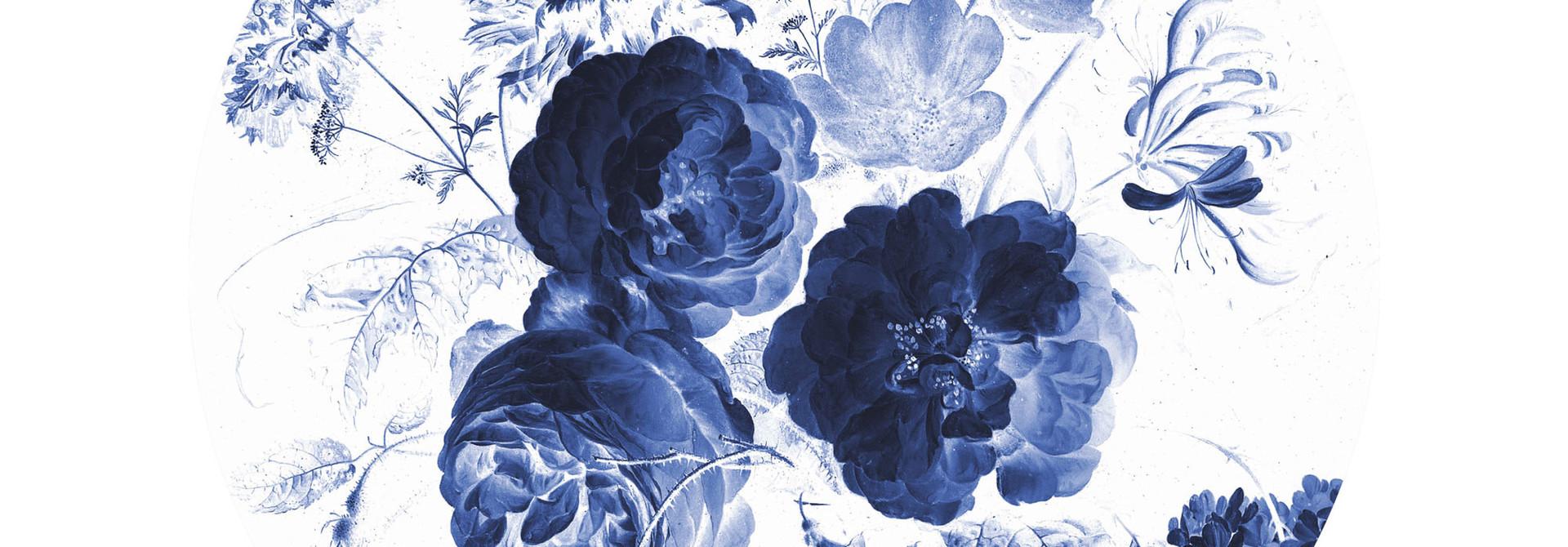 Behangcirkel Royal Blue Flowers - Small