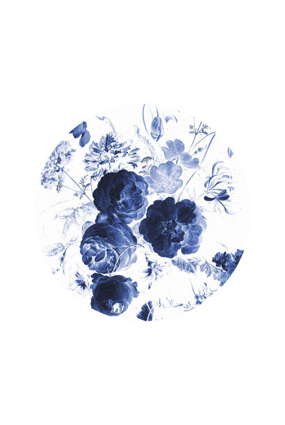 Behangcirkel Royal Blue Flowers - Small