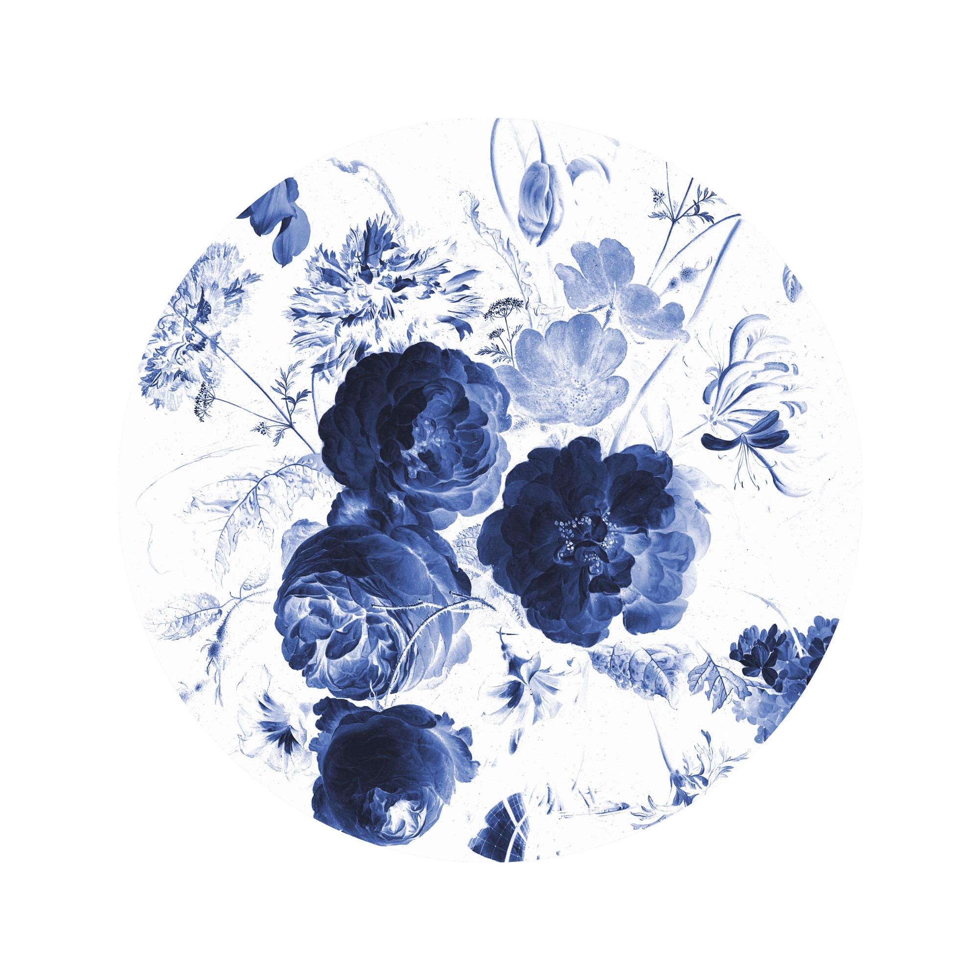 Behangcirkel Royal Blue Flowers - Small-1
