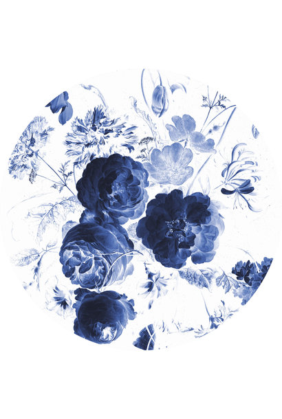 Behangcirkel Royal Blue Flowers - Large