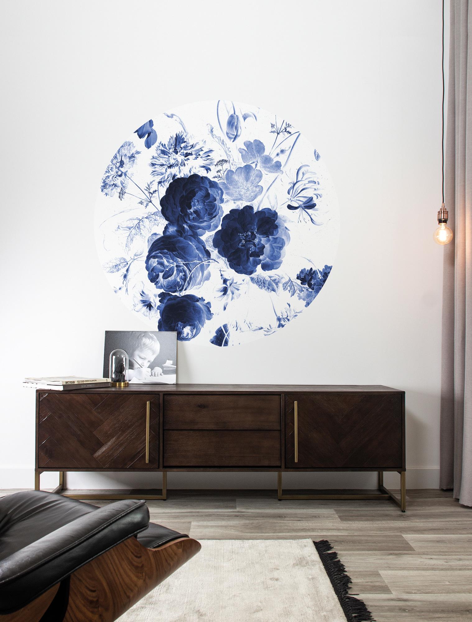 Behangcirkel Royal Blue Flowers - Small-2