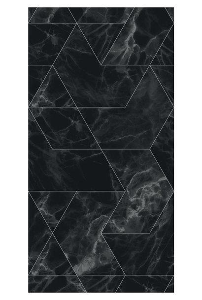Behang Marmer Mosaic - 97.4 x 280 zwart-grijs