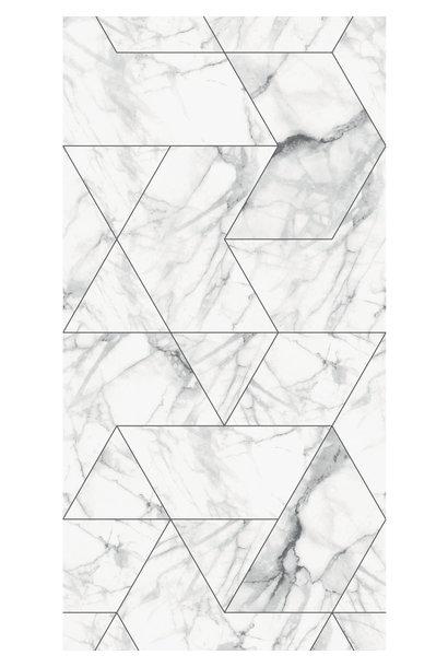 Behang Marmer Mosaic - 97.4 x 280 wit-grijs