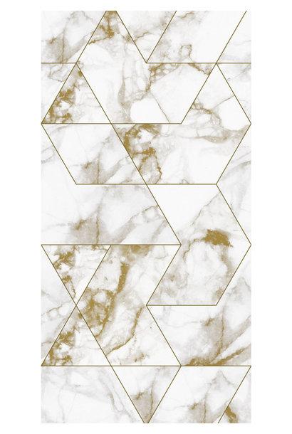 Behang Marmer Mosaic - 97.4 x 280 wit-goud