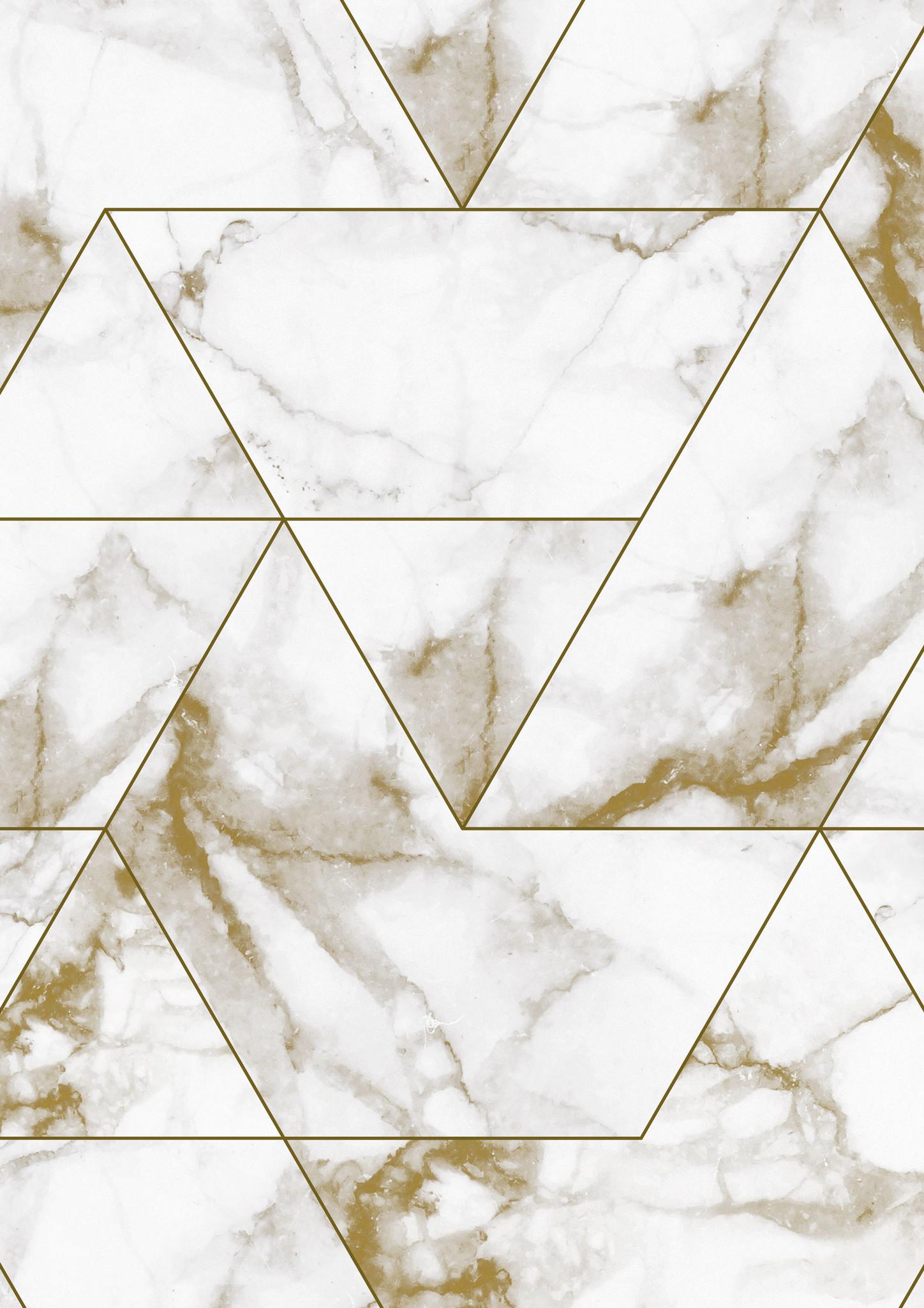 Behang Marmer Mosaic - 97.4 x 280 wit-goud-2