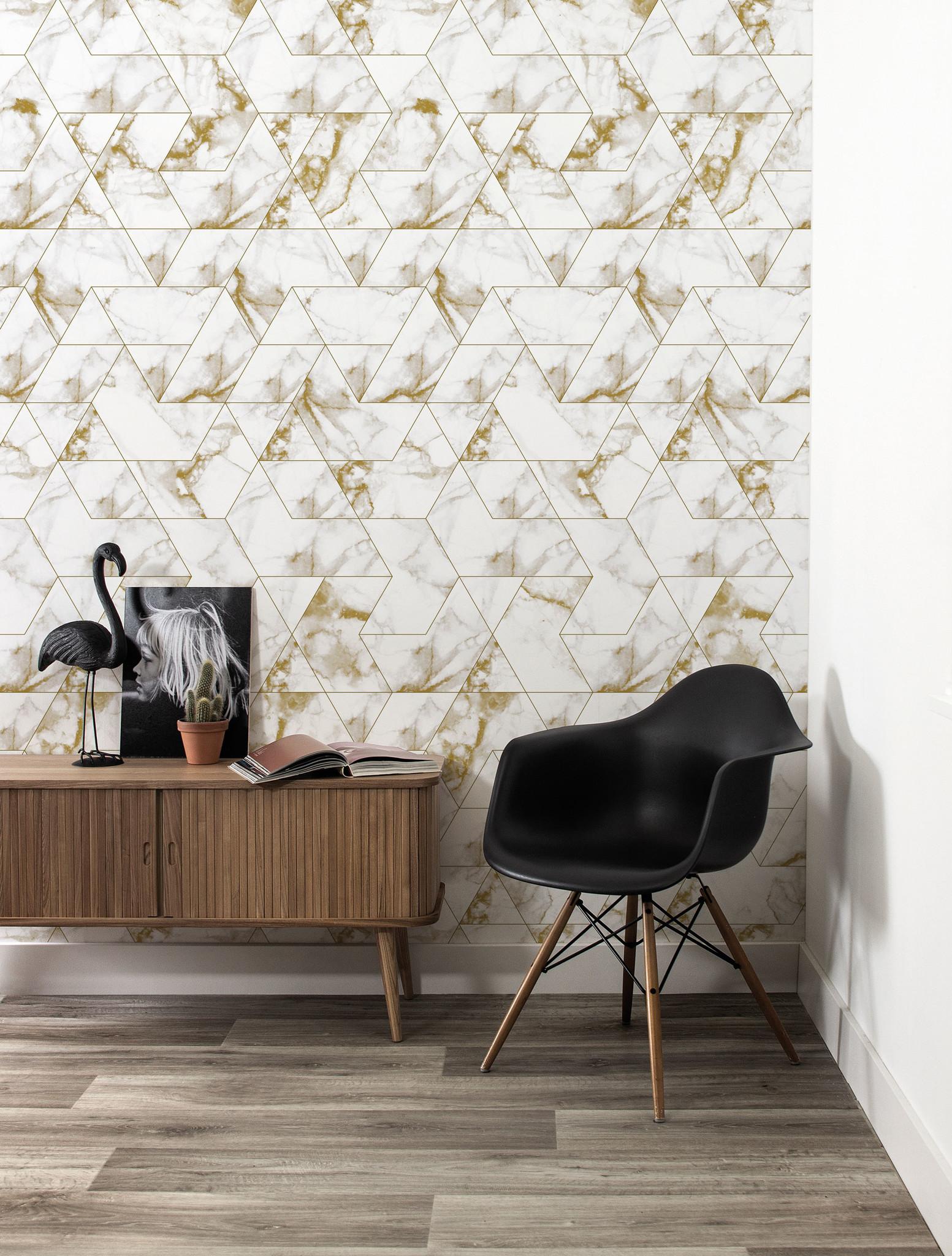 Behang Marmer Mosaic - 97.4 x 280 wit-goud-3