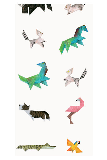 Behang Tangram Animals - 97.4 x 280