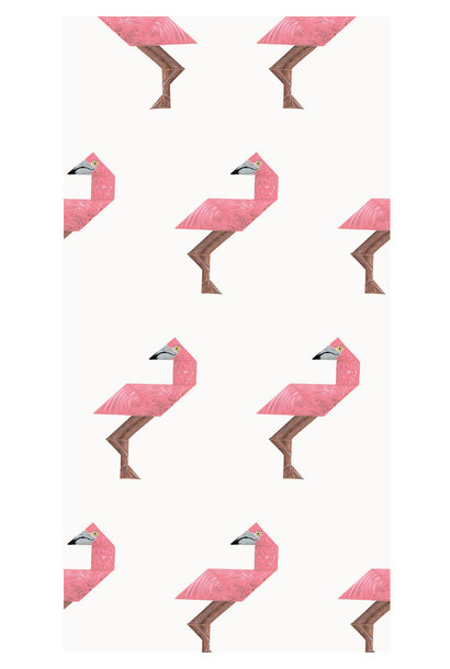 Behang Tangram Flamingo - 97.4 x 280