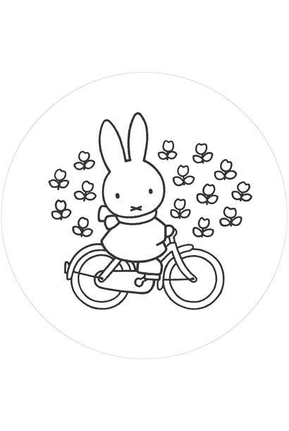 Behangcirkel Nijntje op de fiets - ø 190