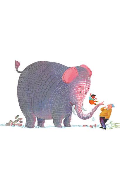 Fotobehang Concrete Elephant - 389.6 x 280