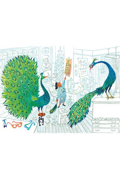 Fotobehang Green Peacocks - 389.6 x 280