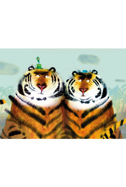 Fotobehang Two Tigers - 389.6 x 280