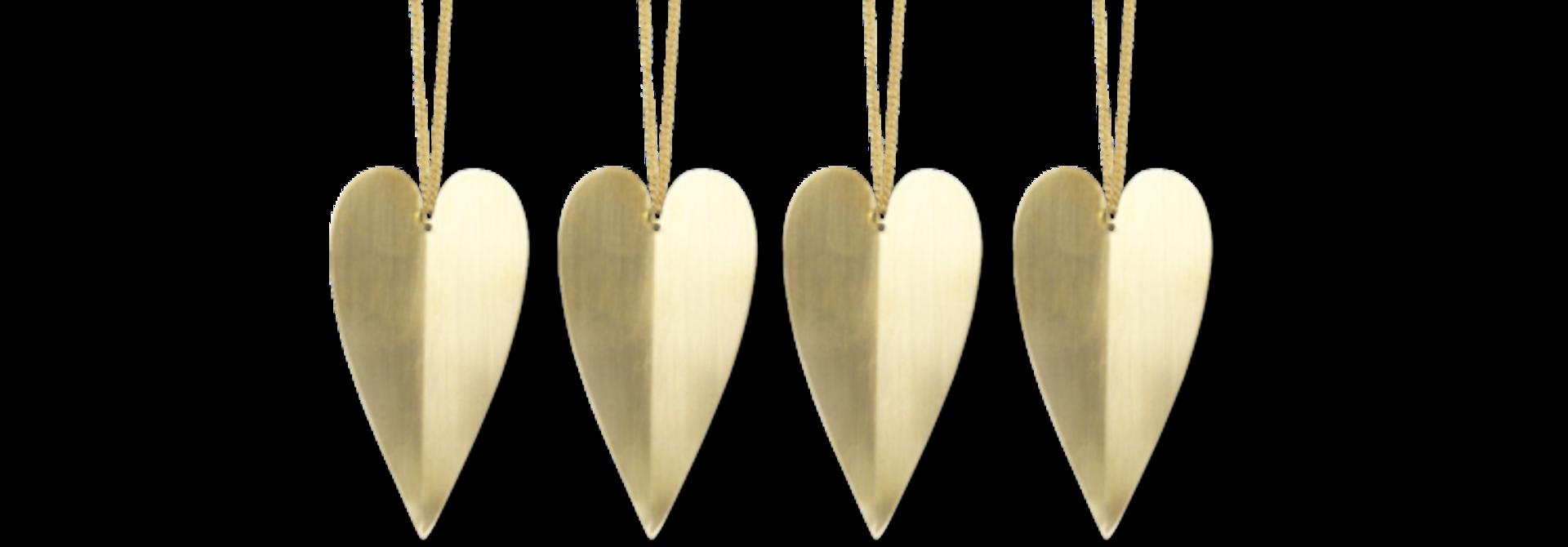 Heart Brass ornament - set of 4