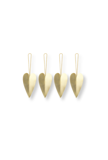 Heart Brass ornament - set of 4