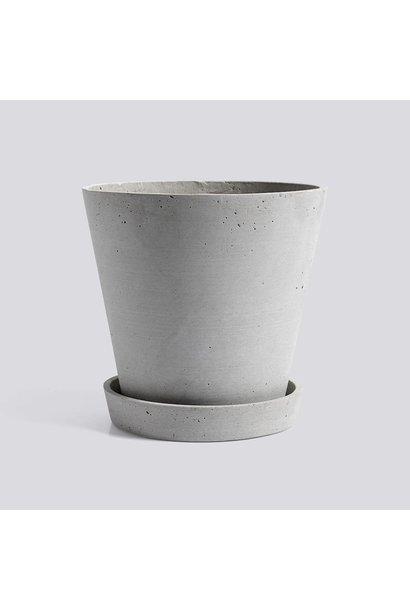 Flowerpot With Saucer - XL - Grey