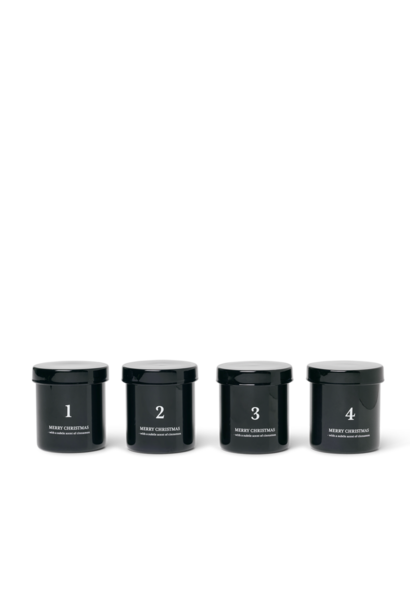 Scented Advent Candles - Set of 4 - Black