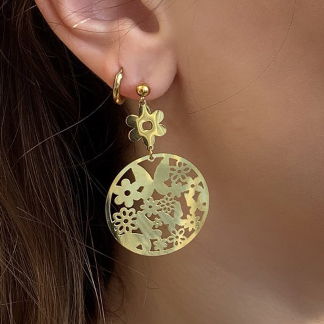 Butterflies Stainless Steel Gold-Plated