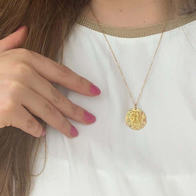 Zodiac Necklace Stainless Steel Gold- Plated