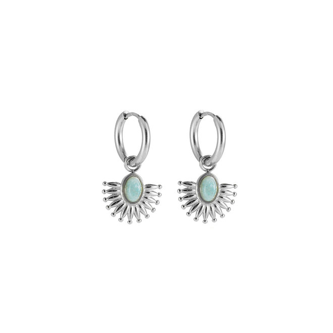 Natural Jewels Earrings Stainless Steel