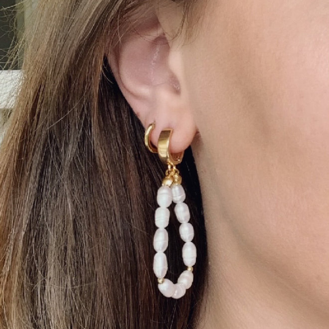 Natural Pearl Earrings Sterling Silver 925  Gold-Plated