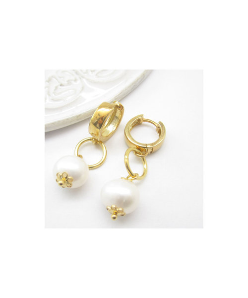 Freshwater Pearl Earrings Sterling Silver 925 Gold- Plated