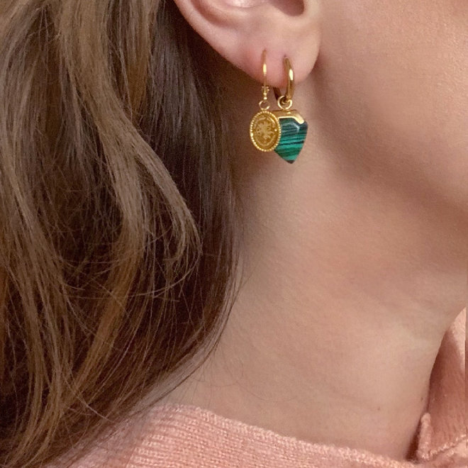 Emerald Green Earrings Stainless Steel Gold-Plated