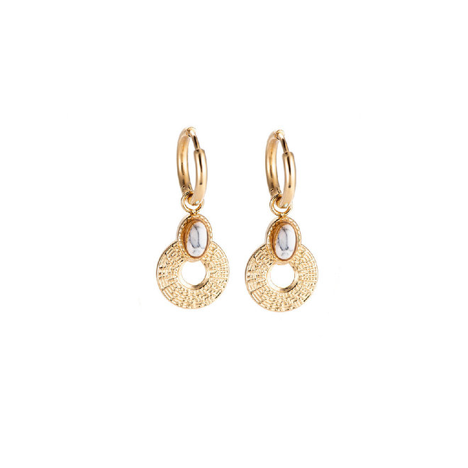 Daisy White Earrings  Stainless Steel Gold- Plated