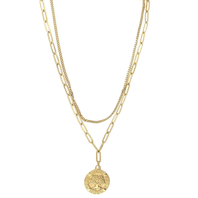 Tree of Happiness Ketting Roestvrij Staal Goud Verguld