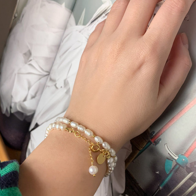 Zoetwaterparels Armband Zilver 925 Goudverguld