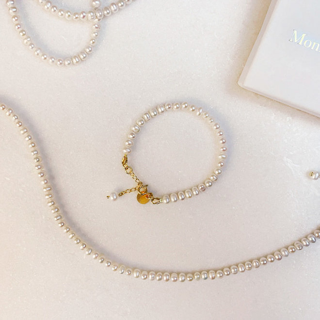 Pure Necklace Freshwater Pearls  Sterling Silver 925 Goldplated
