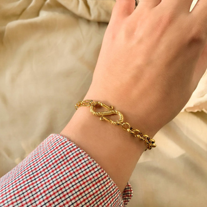 MonNblou Statement Bracelet Stainless Steel Gold- Plated