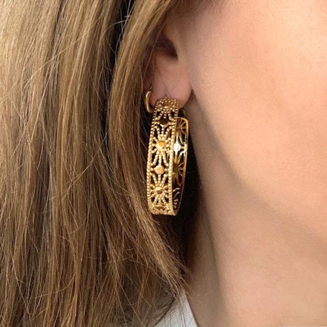 Sun Light Earrings Stainless Steel Gold-Plated
