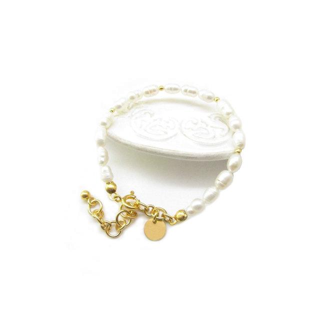 Parel Armband Zoetwaterparel  Zilver 925 Goud Verguld