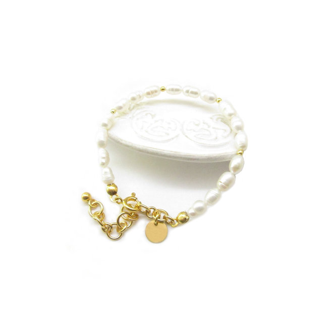 Pearl Bracelet Sterling Silver 925  Gold-Plated