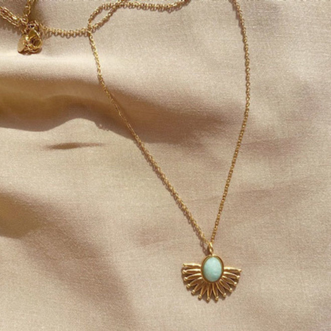 Natural Jewel Necklace Stainless Steel Gold-Plated