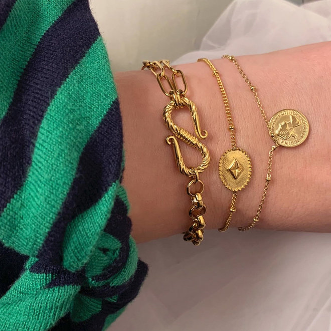 Roma Bracelet Stainless Steel Gold-Plated