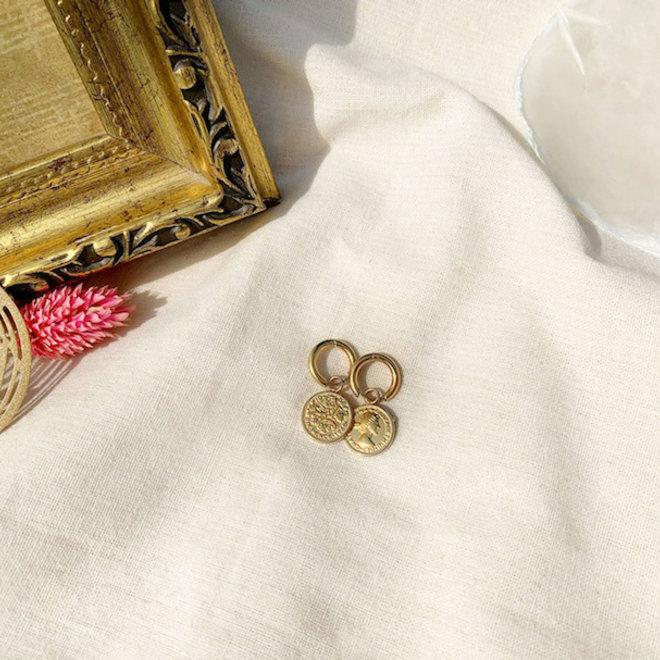 Queen Elizabeth Earrings Stainless Steel Gold- Plated