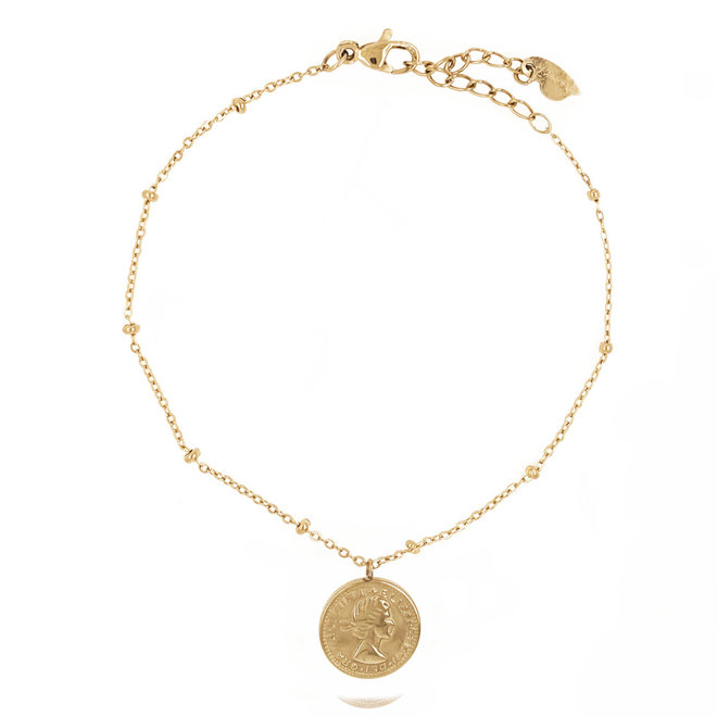 Double Coin Bracelet Stainless Steel Gold- Plated