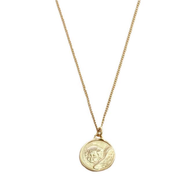 Tweezijdig Engeltjes Medallion 18kt Goud Verguld op Sterling Zilver 925