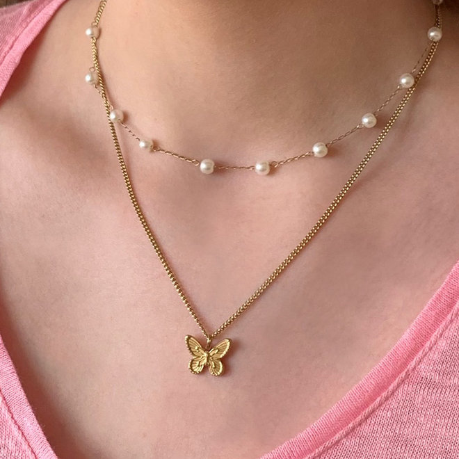 Sofia Charm Necklace Gold-Plated Stainless Steel