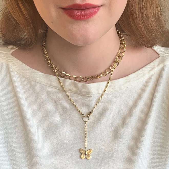 Butterfly Necklace Stainless Steel Gold- Plated