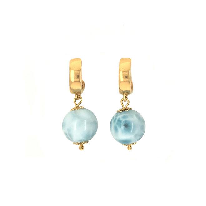 Grace Blue Earrings Larimar Gemstone