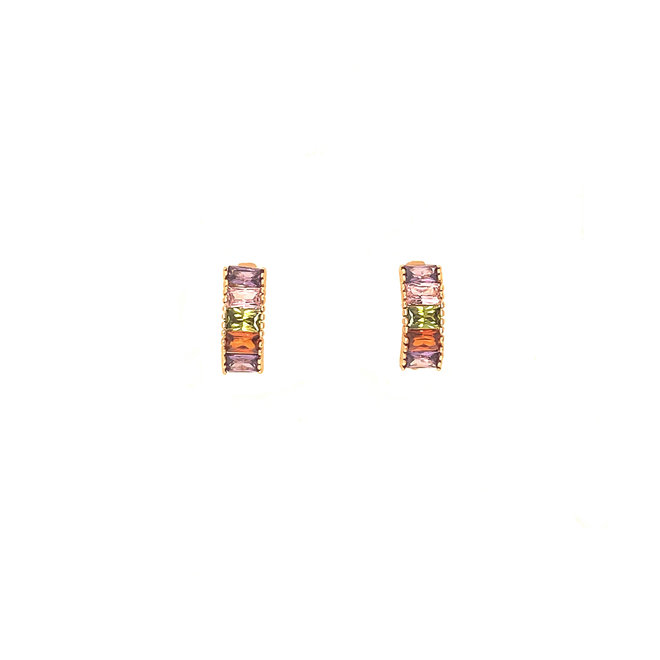 Rainbow Earrings Crystals Gold-plated
