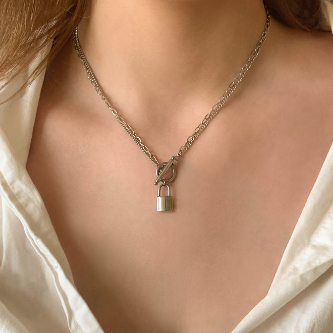 Lock Charm Necklace Stainless Steel
