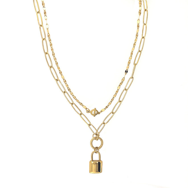 Lock Charm Gold Necklace Gold-Plated Stainless Steel